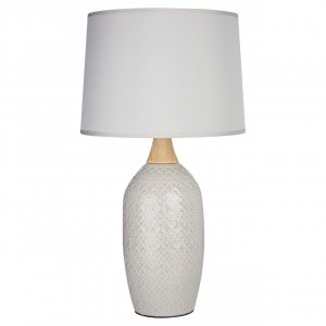 Willow Grey Ceramic Table Lamp with Grey Shade