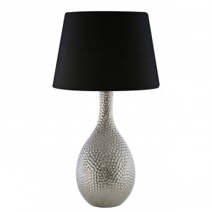 Julius Chrome Hammered Ceramic Table Lamp with Black Shade