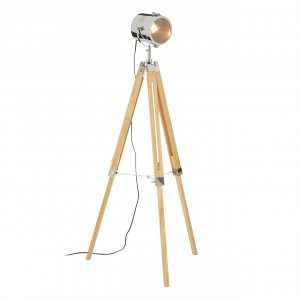 Bray Tripod Wood and Chrome Floor Lamp