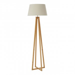 Breton Wooden Floor Lamp with Natural Fabric Shade