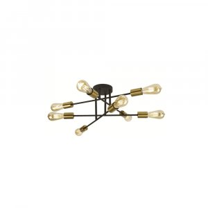 Searchlight Armstrong 8 Light Black and Satin Brass Ceiling Light