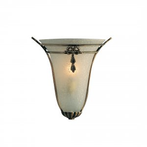 Searchlight 1 Light Antique Brass Wall Light with Scavo Glass