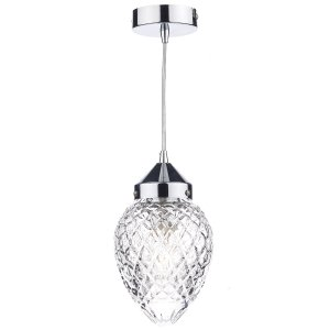Dar Agatha 1 Light Pendant Polished Chrome
