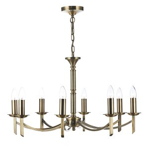 Dar Ambassador 8 Light Dual Mount Pendant Antique Brass