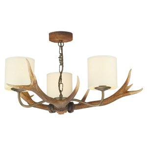 David Hunt Antler 3 Light Pendant with Shades