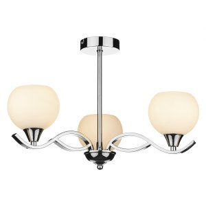 Dar Aruba 3 Light Semi Flush Polished Chrome