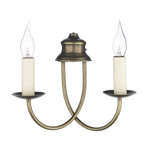 David Hunt Bermuda Double Wall Bracket Aged Brass - Shade sold Separately