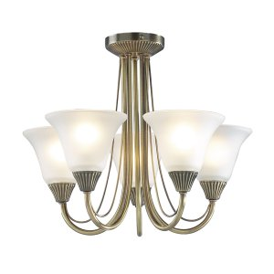 Dar Boston 5 Light Semi Flush Antique Brass