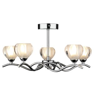 Dar Cynthia 5 Light Semi Flush Ceiling Light Polished Chrome