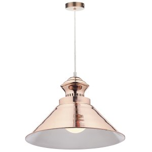 Dar Dauphine 1 Light Pendant Copper