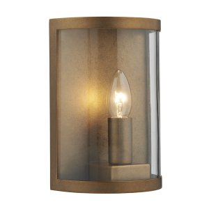 Dar Dusk 1 Light Wall Light Natural Brass IP44