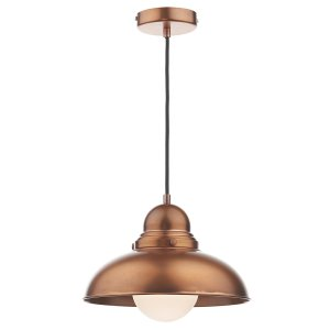 Dar Dynamo 1 Light Pendant in Antique Copper