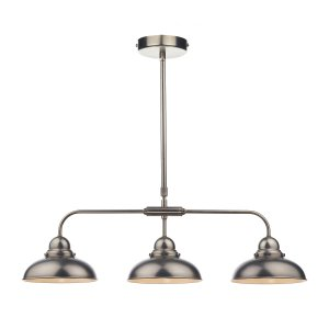 Dar Dynamo 3 Light Bar Pendant Antique Chrome