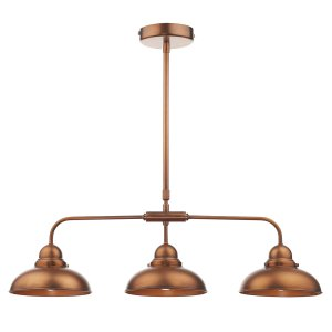 Dar Dynamo 3 Light Bar Pendant in Antique Copper