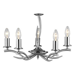 Dar Elka 5 Light Pendant Satin Chrome