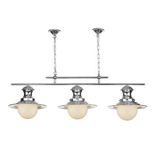 David Hunt Station Lamp 3 Light Pendant Small Chrome