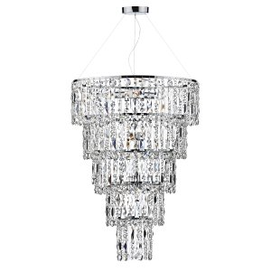 Dar Escala 6 Light Round Crystal Pendant