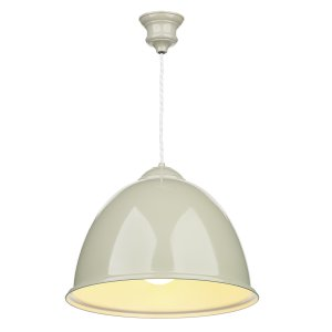 David Hunt Euston 1 Light French Cream Pendant with White Gloss Inner