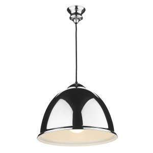 David Hunt Euston 1 Light Polished Chrome Pendant Black Cable