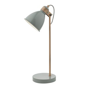 Dar Frederick Table Lamp Gloss Grey/Copper