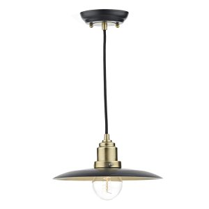 Dar Hannover 1 Light Pendant Black/Antique Brass