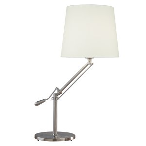 Dar Infusion Table Lamp Satin Chrome Complete with Shade