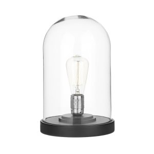 David Hunt Jefferson Cloche Table Lamp Matt Black / Clear