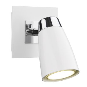 Dar Loft 1 Light Low Energy Spot Switch Polished Chrome & Matt White