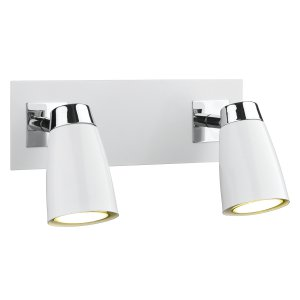 Dar Loft 2 Light Low Energy Spot Switch Polished Chrome & Matt White