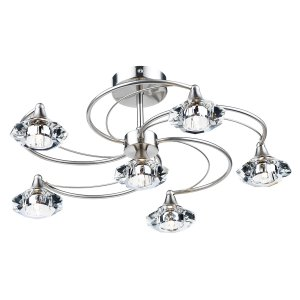 Dar Luther 6 Light Semi Flush Complete with Crystal Glass Satin Chrome