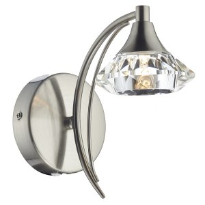 Dar Luther Single Wall Bracket Complete with Crystal Glass Satin Chrome
