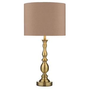 Dar Madrid Ball Table Lamp Antique Brass Complete with Shade
