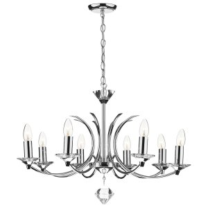 Dar Medusa 8 Light Dual Mount Pendant K9 Crystal Polished Chrome