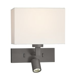 Dar Modena 1 Light Rectangle Wall Bracket with LED Bronze - Base Only
