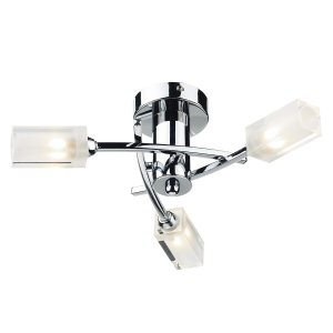 Dar Morgan 3 Light Semi Flush Ceiling Light Polished Chrome