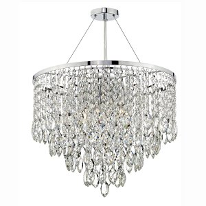 Dar Pescara 5 Light Round Pendant Decorative Crystal