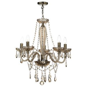 Dar Raphael 5 Light Chandelier Champagne Crystal - Shade Sold separately ROH07