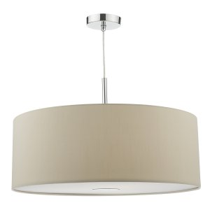 Dar Ronda 3 Light Pendant 60cm Drum Ecru Faux Silk