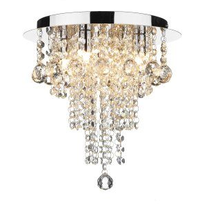 Dar Ruby 4 Light Decorative Flush Complete with Crystal Polished Chrome