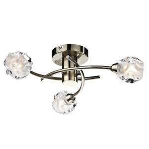 Dar Seattle 3 Light Semi Flush Ceiling Light in Antique Brass