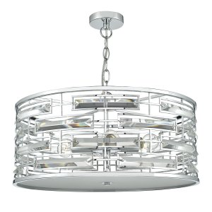 Dar Seville 6 Light Pendant Polished Chrome Crystal