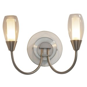 Dar Tugel Double Wall Bracket  Satin Chrome Complete with Double Envelope Glass