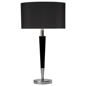 Dar Viking Table Lamp Polished Chrome & Black Complete with Black linen Shade