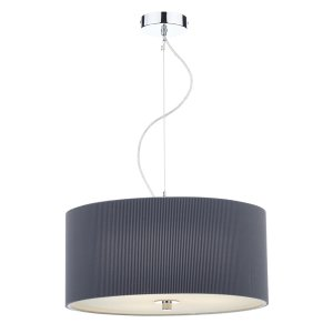 Dar Zaragoza 3 Light Pendant 60cm Grey