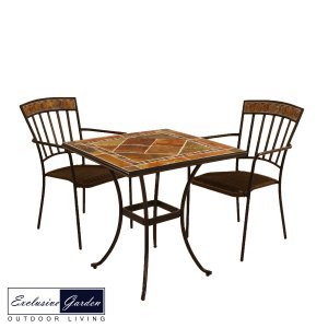 Exclusive Garden Clandon Square Table & 2 Kingswood Chairs Set