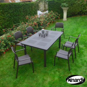 Nardi Libeccio Table & 6 Bora Chairs Set - Coffee