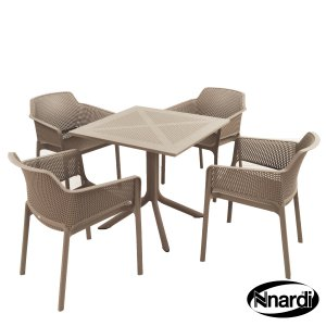 Nardi Clip Table & 4 Net Chairs Set - Turtle Dove Grey