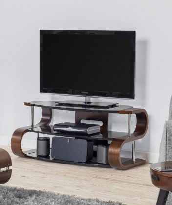 Jual Florence Walnut & Black Glass 1100mm Curved Wood TV Stand - Up To 50