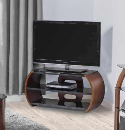 Jual Florence Walnut & Black Glass Curved Wood TV Stand - For 50