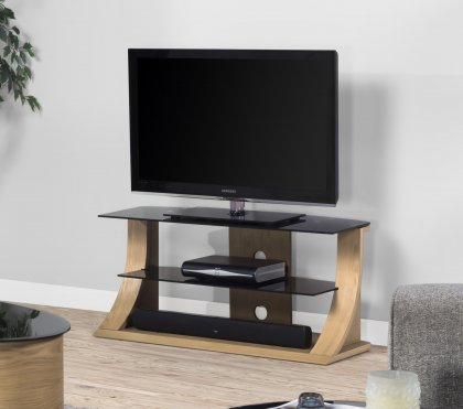 Jual Florence Oak & Black Glass 1100mm Curved Wood TV Stand - Up To 50